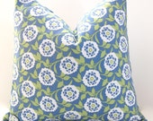 Throw Pillow Covers for Decorative Pillows Dwell Studio Floral in Kiwi Green and Blue 20 x 20 Inches