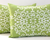 Decorative Pillow Covers Throw PIllows Dwell Studio Kiwi Green 12 x 16 Inches Scrolls Pair of Two