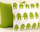 Decorative Pillows Kids Room Children Pillow Green and White Elephant Pillow Covers Nursery Decor 20 x 20 Inches Elephant and Solid Green