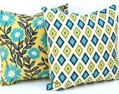 Decorative Throw Pillow Covers 20 x 20  Floral and Diamonds Turquoise and Navy on Natural