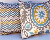 Decorative Throw Pillow Covers 20 x 20 Inches Accent Pillows Cushion Covers in Suzani Blue Gray