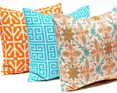 Decorative Throw Pillow Covers Tangerine Orange and Turquoise on Natural TRIO 16 x 16 Inches - NEW - Set of 3 Accent Pillows Cushion Covers