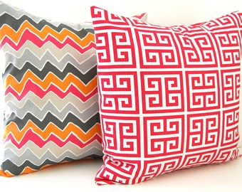 Throw Pillow Covers Pink Pillows Orange Pillows Accent Pillows Cushion Covers 20 x 20 Inches Sherbert Pink Greek and Chevron