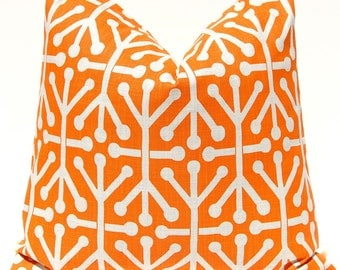 Decorative Throw Pillow Covers Tangerine Orange Jacks on Natural 16 x 16 Inches - NEW - Tangerine Orange Accent Pillows Cushion Covers