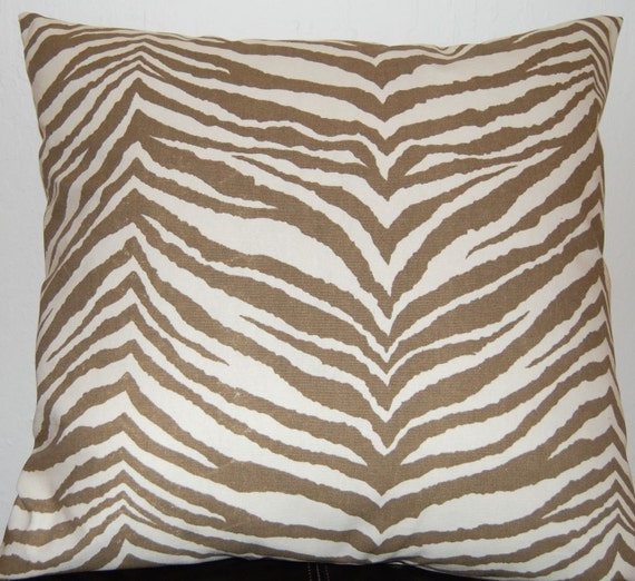Accent Pillows Decorative Toss Pillow Covers Zebra Print in Chocolate and Natural 18 Inches