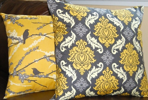Pillow Decorative Throw Pillow Covers- 18 Inches - Aviary 2 by Joel Dewberry Sparrows in Vintage Yellow and Damask Granite