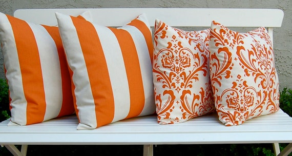Decorative Pillows Throw Pillow Cover Combo Awning Stripe and Damask in Sweet Potato Orange on Natural
