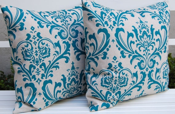 Navy And Teal Throw Pillows: LAST PAIR Decorative Pillows Teal Damask Throw Pillow Covers