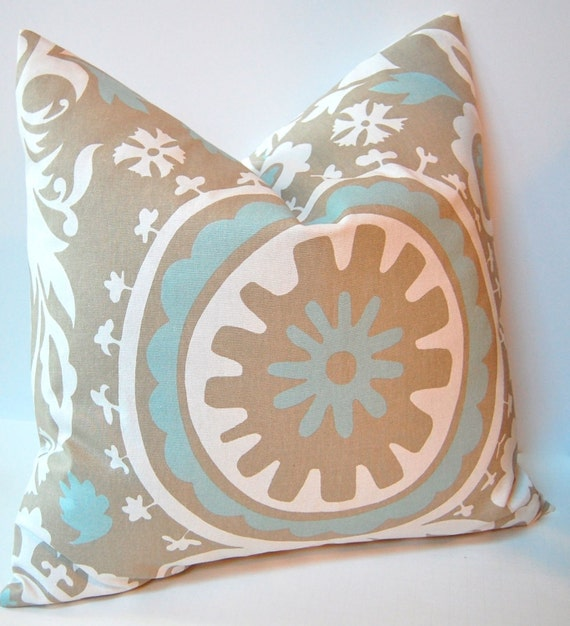 Powder Blue Decorative Pillows : Items similar to Decorative Pillows Accent Pillows Cushion Covers - 20 Inches - Taupe and Powder ...