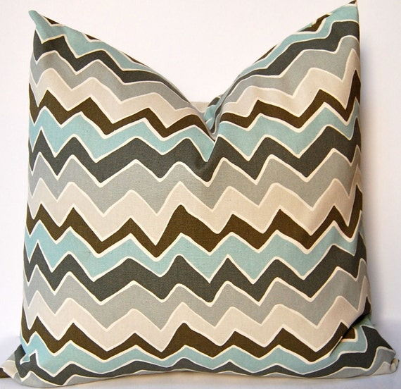 Chevron Pillow Covers - Pair of Two - 20 x 20 - Decorative Throw Pillow Covers - Village Blue and Gray Pillow - Chevron Cushion Covers