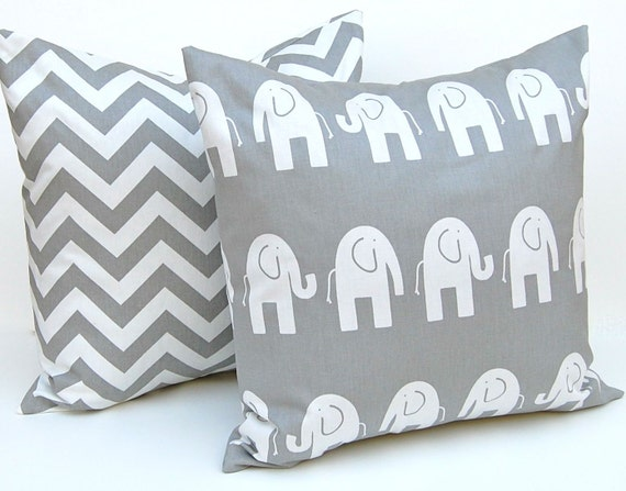 Decorative Pillow Covers -  Children Decor - Gray Pillow Covers - Elephant and Chevron - Nursery Pillow Covers - 18 x 18 - Grey Nursery