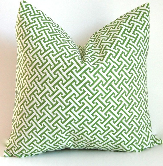 Decorative Pillows Accent Pillow Cushion Covers  Green and White Greek Key 20 x  20 Inches