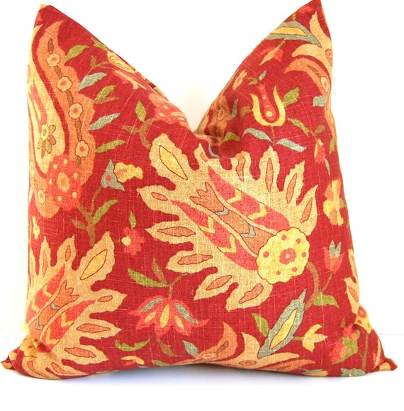 Decorative Pillows Richloom Pranzo Red and Gold Throw Pillow