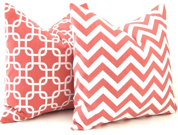 Throw Pillow Etsy : Coral Throw Pillows Chevron Pillow Coral by FestiveHomeDecor