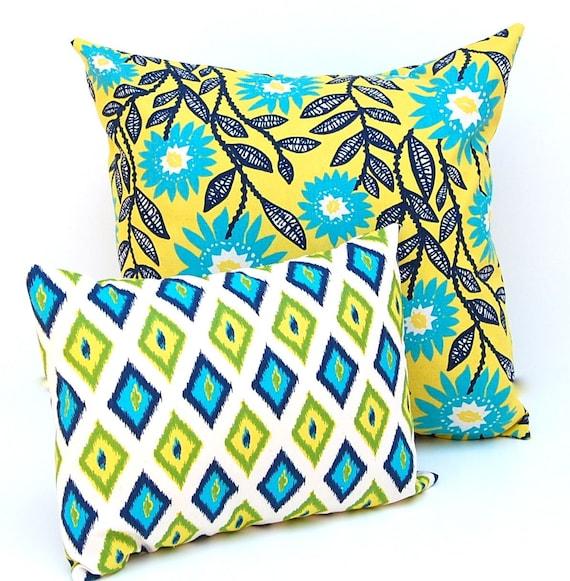 Organic Decorative Pillow Covers : Items similar to Decorative Throw Pillow Covers 20 x 20 Plus 12 x 16 Floral and Diamonds ...