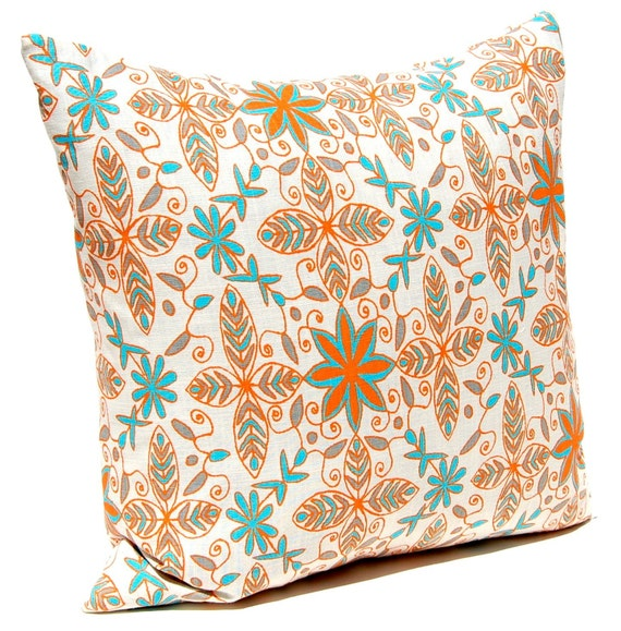 items similar to throw pillow covers tangerine orange and turquoise floral on natural 16 x 16. Black Bedroom Furniture Sets. Home Design Ideas