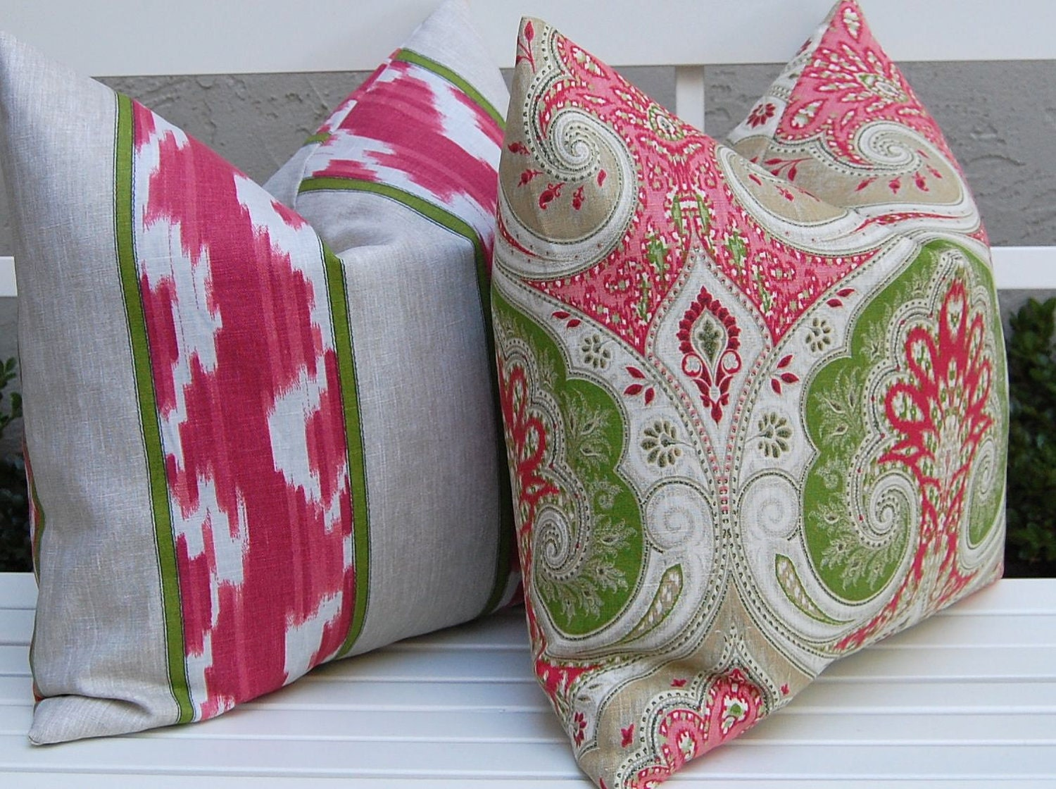 Etsy Pink Throw Pillow : Decorative Pillows Pink and Green Pillow Covers 20 x 20
