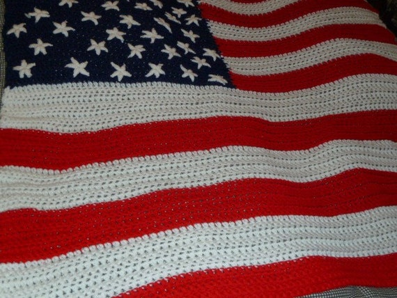 Crochet Pattern American Flag : Crochet American Flag Afghan by HeyBonkers on Etsy