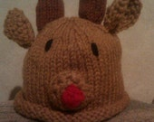 0 to 6 month Knitted Rudy Reindeer Hat