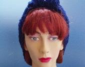 1940s Glamorous Sparkle Hair Tidy - Glamorous Midnight Blue Sparkle - Homefront Handknit