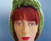1940s Style Hand Knitted Hair Tidy in Vintage Green