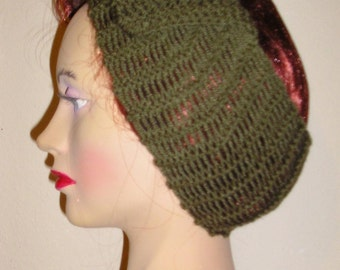 1940s Style Hand Knitted Hair Tidy in Camouflage Green