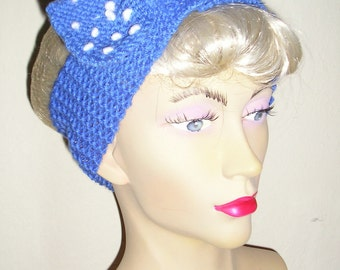 1950s  Blue and White Polka Dot Bow Hat Band - Homefront Handknit