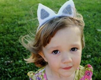 White and Gray Wool Felt Cat Ear Headband