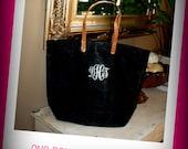 Monogrammed/Personalized Large Jute Tote Bag -Black