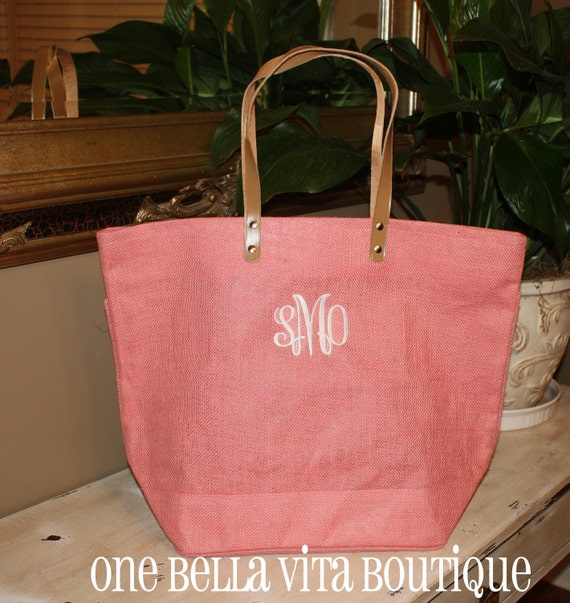 Monogrammed/Personalized Large Jute Tote Bag -10 COLORS