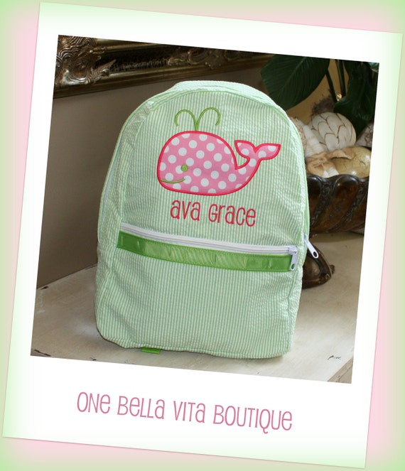 Medium Personalized Seersucker Applique Backpack