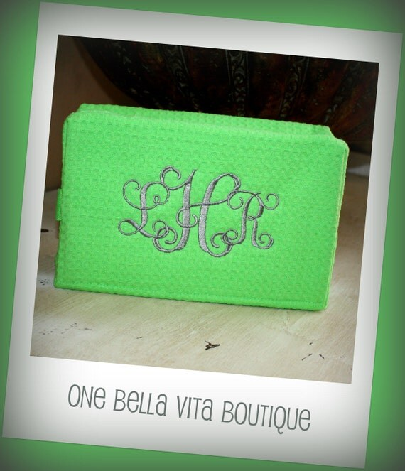 Monogrammed Embroidered Waffle Weave Cosmetic Bag - Lime