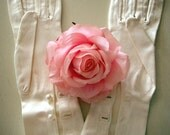 VINTAGE White Satin Elbow Length Gloves with Pearl Buttons