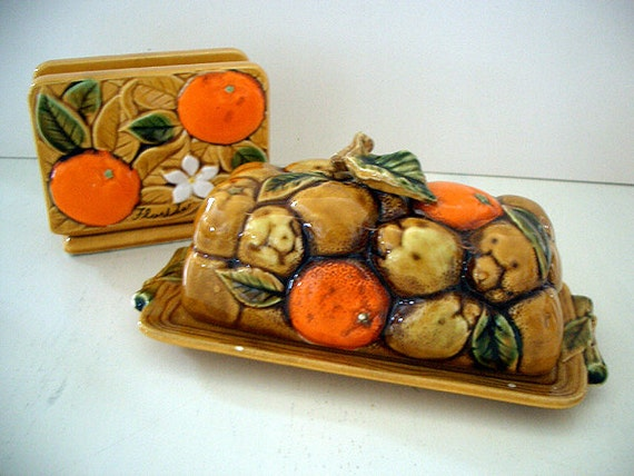 RESERVED 1960's Ceramic Florida Themed Napkin Holder and Butter Dish Set