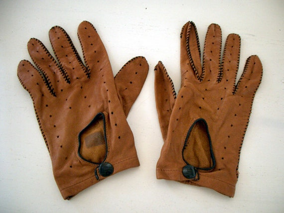 VINTAGE Men's Driving Gloves Leather FREE SHIPPING