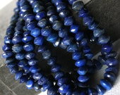 Lapis Lazuli Smooth Rondelle Beads . 4.5 to 5 mm . 7 Inch Strand