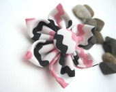 Large Pink and Black Fabric Flower Hairclip