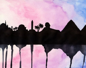 "Egypt Skyline Watercolour Print 8"" x 11.5"" (A4) - Paint the Moment"
