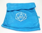 Gamer scarf, blue d20 - Hand painted silk scarf