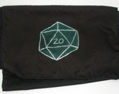Gamer scarf, green d20 on black background - Hand painted silk scarf