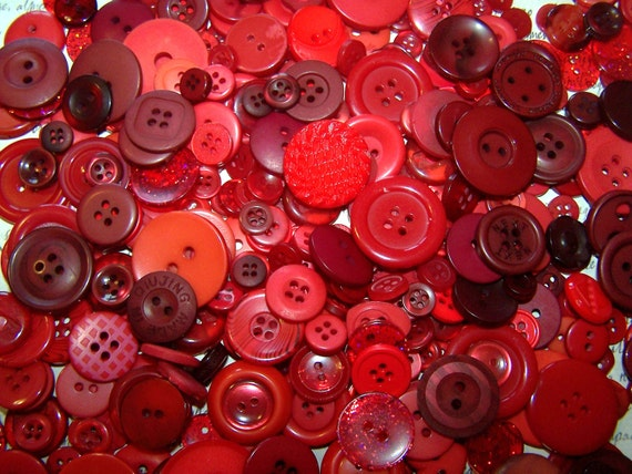 100 Bulk Red Button Lot New Red Button Assortment Valentine Buttons Bulk Button Lot Button Jewelry Red Craft Buttons