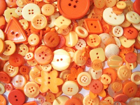 50 Bulk Orange Button Lot New Orange Buttons Bulk Button Lot Button Jewelry Craft Buttons Oranges Spring Buttons