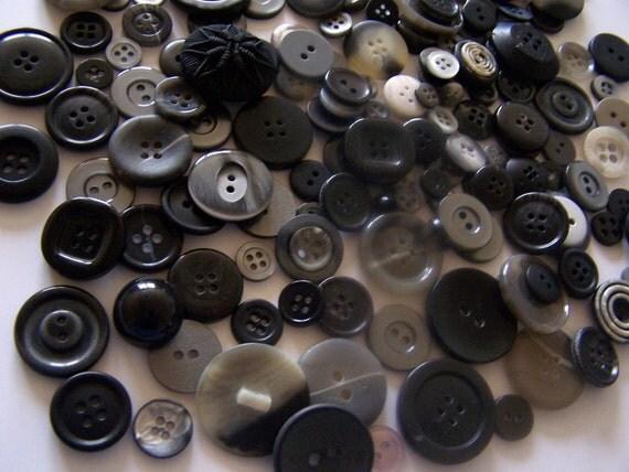 25 Black Buttons Bulk Black Buttons Bulk Grey Buttons Large Black Buttons Bulk Button Lot Button Jewelry Craft Buttons
