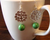 Rhodium Bubbles and Green Earrings