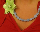 Vintage Flower and Periwinkle Necklace