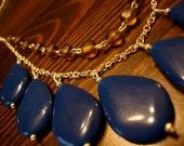 Vintage Drop Necklace in Navy