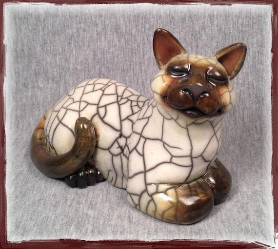 OOAK Raku Cat Sculpture -TSU LING- Kitty