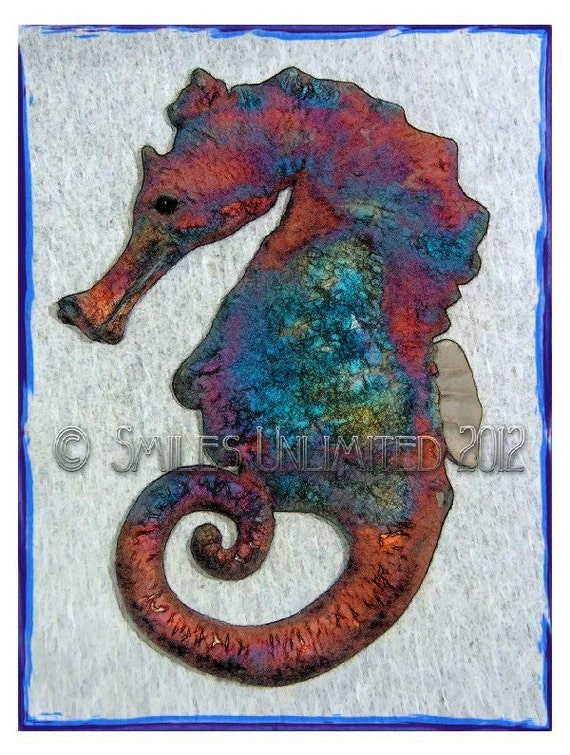 Blank Photo Note Card  -SEAHORSE-  Sea Horse Series 3d