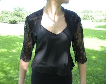 Black Alencon Lace Bolero Jacket-Made to Order