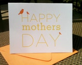 Momma & Baby Bird Letterpress Mother's Day card